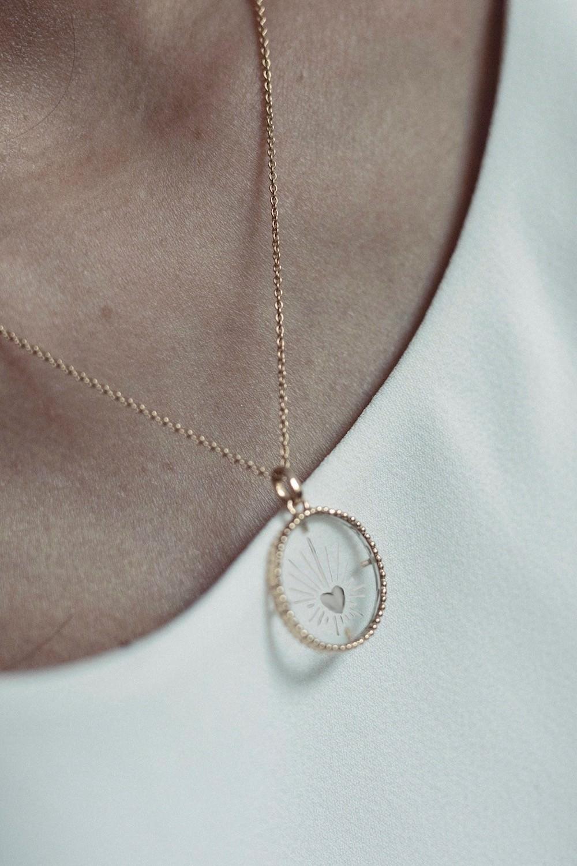 Médaille Coeur Sacré Cristal de roche