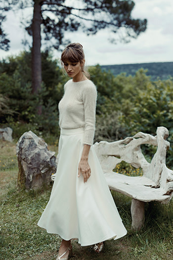 André pullover, Flore skirt, Suzanne gold sandals & Lauren earrings
